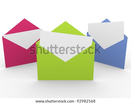Three envelopes with blank messages. Concept of mail and communication - stock photo