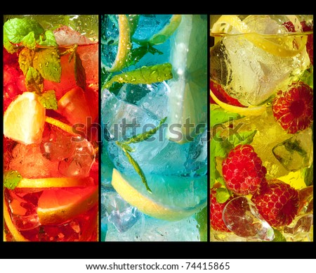 Three extreme macro shots of colorful cocktail drinks
