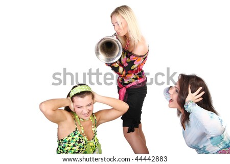Three fashion friend girls - stock photo