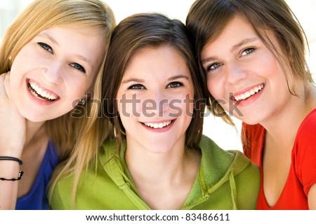 Three Female Friends - stock photo