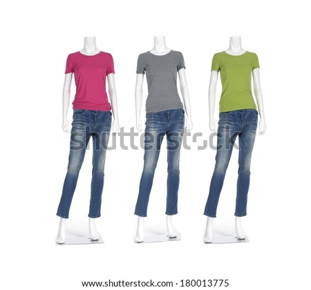 three female mannequin with t- shirt dressed in jeans - stock photo