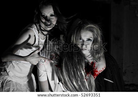 Three females zombie - stock photo