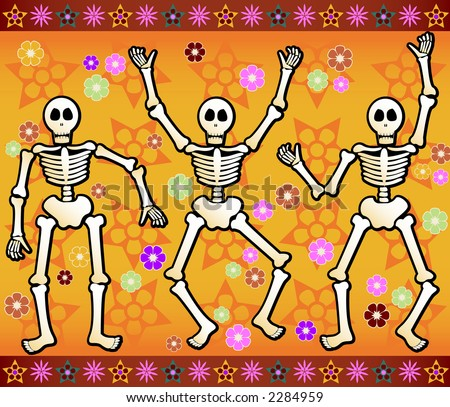 Three festive skeletons jump and dance around - bordered by colorful stars and flowers - great for Halloween or Dia de los Muertos - stock photo