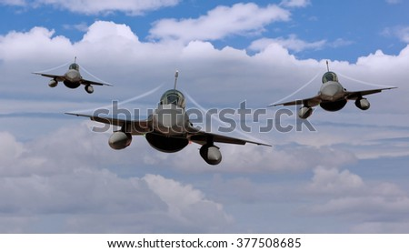 Three fighter jets airborne with contrails - stock photo