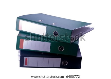 Three file binders arranged in tower - isolated object - stock photo