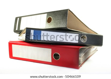 three files lying on a white background