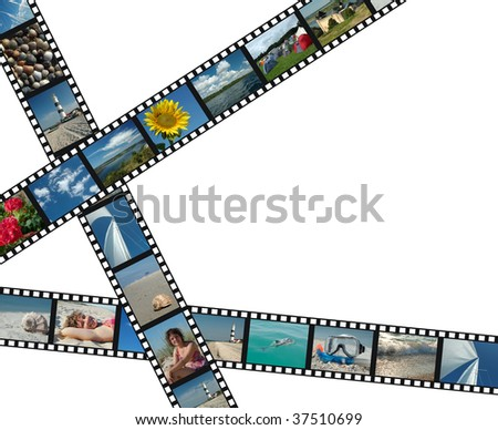 Three filmstrips with summer vacation photos - stock photo