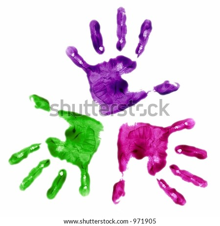 three finger painted hands in bright colors on white background - stock photo