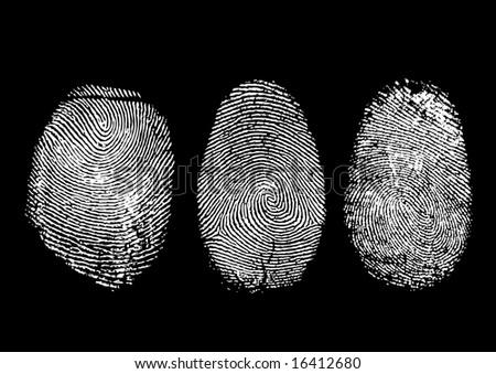 Three finger prints isolated on black - stock photo