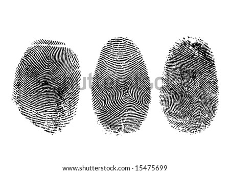 Three finger prints isolated on white - stock photo