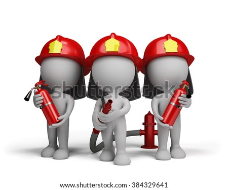 Three firefighter with a extinguishers and a water cannon. 3d image. White background. - stock photo