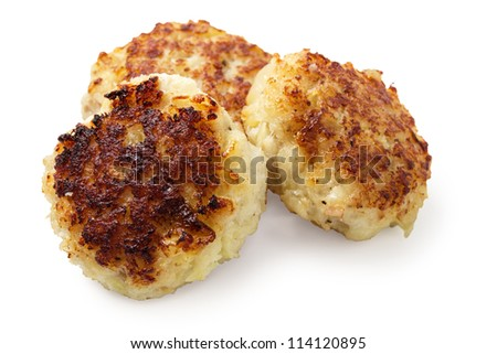 three fish cakes from cod isolated on white