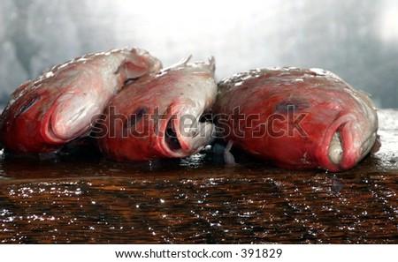 Three Fish on a cutting board - stock photo