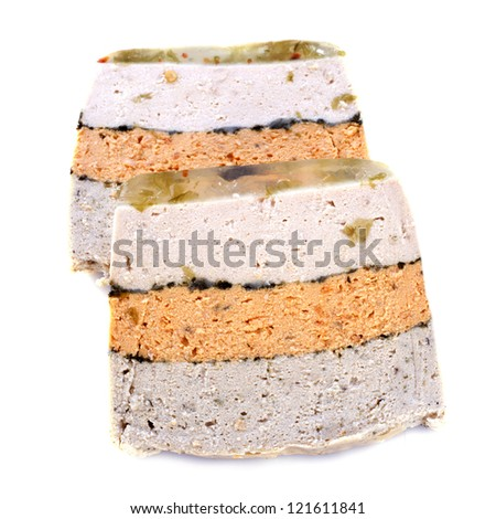 three fishes terrine in front of white background - stock photo