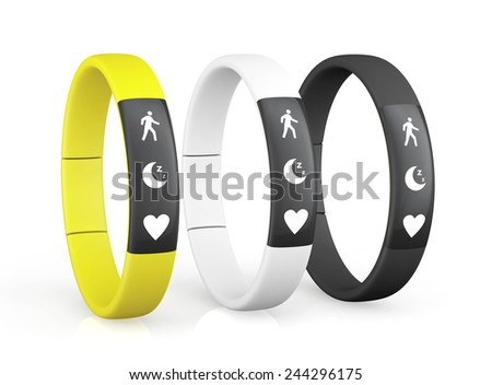 Three Fitness Trackers on a white background - stock photo