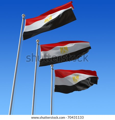 Three flags of Egypt with flag pole waving in the wind against blue sky. 3d illustration. - stock photo