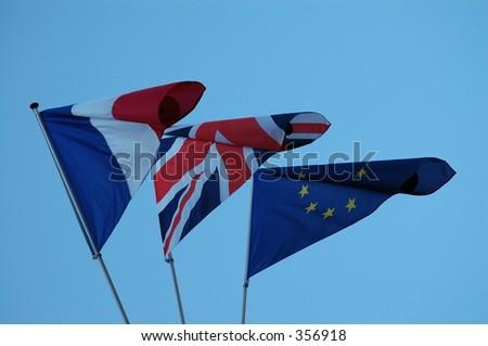 Three flags - Tricolor, Union Jack, European Union. - stock photo