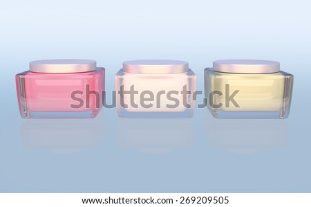 Three Flasks with cosmetic cream on a blue background. Daily, beauty care cosmetic. Face creams. Skin care. - stock photo