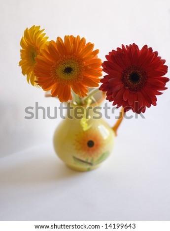 three flowers in vase - stock photo