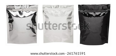 Three Foil package bag isolated on white with clipping path - stock photo