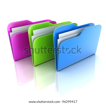 Three folder on white background (done in 3d) - stock photo