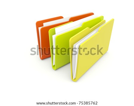 Three folders isolated on white
