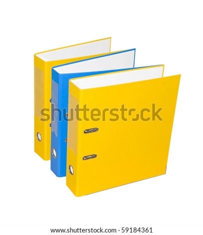 Three folders on a white background. Isolated......... - stock photo