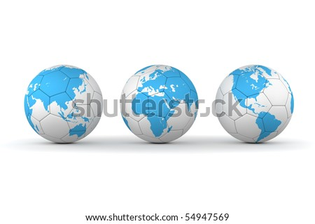 three footballs/soccer balls in a line - textured with different parts of a world map