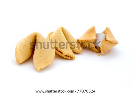 Three fortune cookies isolated on white - stock photo