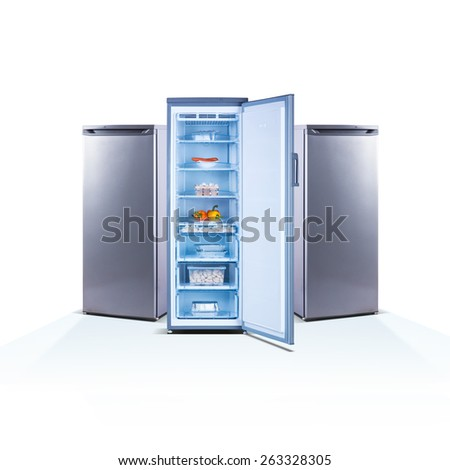 Three freezers on white background, open, front view, with food, isolated on white, shine grey metallic - stock photo