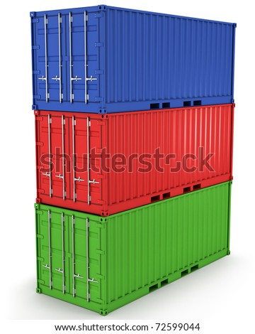 Three freight containers stacked in a tower isolated on white background - stock photo