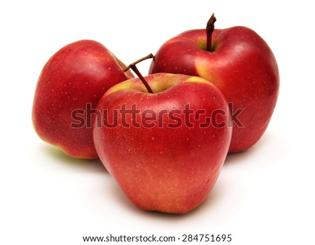 Three fresh apples isolated on white background