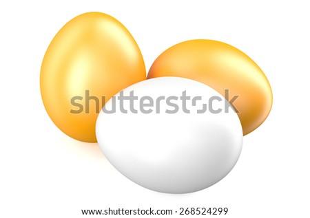 three fresh eggs isolated on white background - stock photo