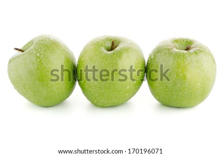 Three fresh green apples on white background.