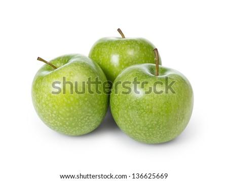 three fresh green granny smith apples, isolated - stock photo