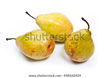 Three fresh green pears. Group of juicy ripe fruits. With clipping path. View of conference pear isolated on white background. - stock photo