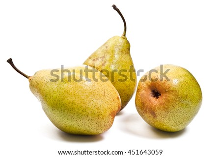 Three fresh green pears. Group of juicy ripe fruits. With clipping path. View of conference pear isolated on white background.