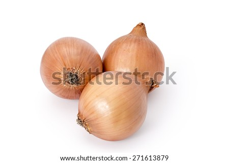 Three fresh onion bulbs isolated on white background
