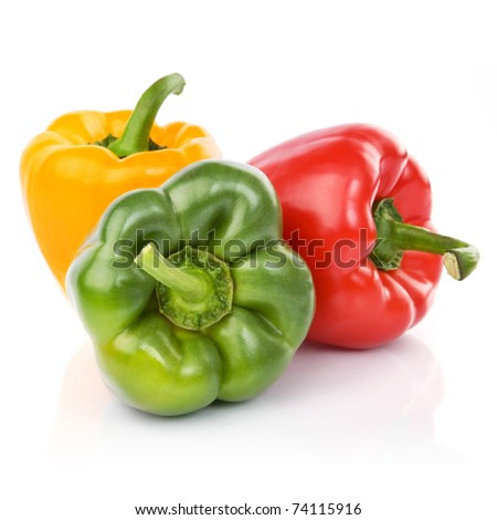 three fresh sweet pepper isolated on white background - stock photo