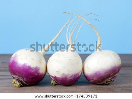three fresh turnip root on the table - stock photo