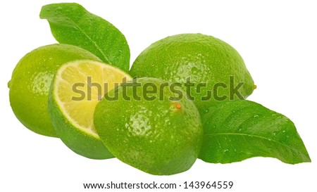 Three fresh wet lime with leaves close up on a white background.