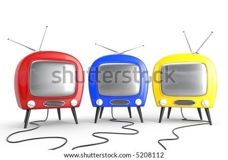 Three friend - concept. Stylish retro TV - stock photo