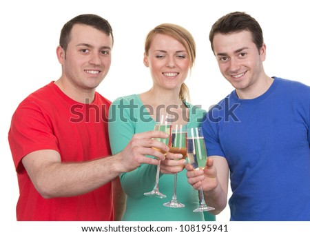Three friends celebrating with champagne, isolated on white