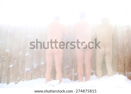 Three friends - doing wellness in the sauna of a thermal bath - stock photo