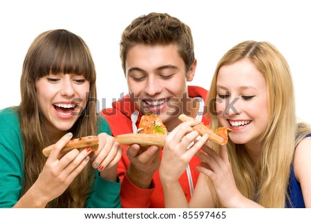 Three Friends Eating Pizza
