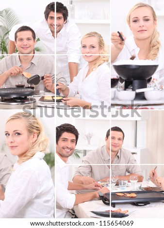 Three friends enjoying fondue - stock photo