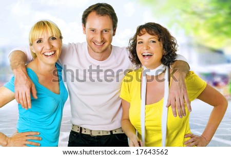 three friends having fun.  A keyword for this collection is wima7