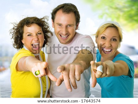 three friends having fun.  A keyword for this collection is wima7 - stock photo