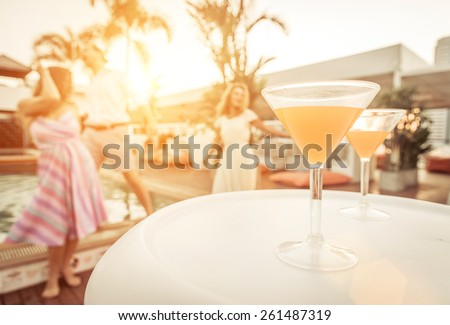 three friends having party in a lounge open disco. concept about entertainment and party - stock photo