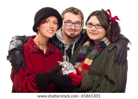 Three Friends Holding A Holiday Gift Isolated on a White Background. - stock photo